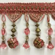 11cm Pom Pom Crystal Beaded Tassel Fringe Trim TF-45/19-15 Pink & Green