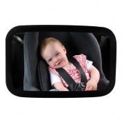 BAY Rear Facing Baby View Mirror - Car Back Seat Child Safety Mirror - Infant Rear-view Mirror Features 360 Adjustable Angle, Shatterproof & Wideview, Black