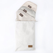 Changing Pad Liners - 3 Pack 100% Organic Un-Dyed Cotton - 70cm x 50cm - Waterproof Lining - Free Gift Bag