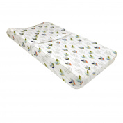 Just Born Adventure Changing Pad Cover, White/Navy/Orange