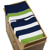 Navy Blue and Lime Green Stripe Baby Changing Pad Cover