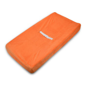 TL Care Heavenly Soft Chenille Fitted Contoured Changing Pad Cover, Orange