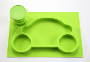 One-Piece Silicone Placemat + Plate Car + Collapsible Cup + Cup Holder (Green). Lifetime Warranty
