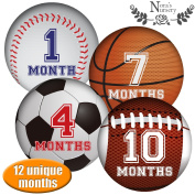 SALE! Baby Sports Monthly Stickers - Great Registry Keepsake for Babies, Baby Boy or Girl Shower Gift Idea or Milestone Photo Prop - Easy to Peel, Stick, Shoot and Remove from Clothing and Onesies