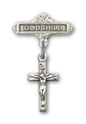 ReligiousObsession's Sterling Silver Baby Badge with Crucifix Charm and Godchild Badge Pin