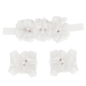 Fullkang Cute Baby Foot Flower Barefoot Sandals + Headband Set