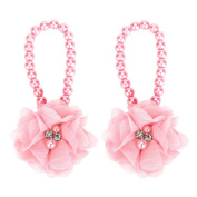 1Pair FEITONG Infant Kids Cute Pearl Barefoot Foot Flower Wear Beach Sandals
