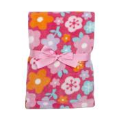 Baby Gear Plush Velboa Ultra Soft Baby Girls Blanket 30 x 40, Fuschia Floral