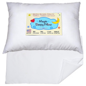 Toddler Travel Pillow 13x18 - Delicate Soft & Hypoallergenic White Cotton Shell with Pillowcase & Bedtime Story - Made in USA