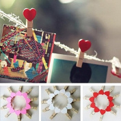 Saver 10Pcs Love Heart Wooden Clothes Photo Paper Clips