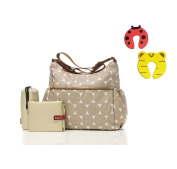Babymel Big Slouchy Changing Bag in Jumbo Dot Fawn With Changing Mat & Insulated Bottle Pocket Plus 1 Pair Of Door Stoppers