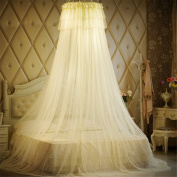 Girls lace Round Curtain Dome Bed Canopy Netting Mosquito/Fly/Pest Net-Yellow