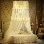 Princess Three layers of lace Round Curtain Dome Bed Canopy Netting Mosquito Net-Yellow