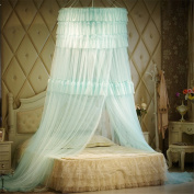 Princess Three layers of lace Round Curtain Dome Bed Canopy Netting Mosquito Net-Green