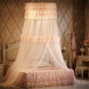 Princess Three layers of lace Round Curtain Dome Bed Canopy Netting Mosquito Net-Lt Pink