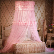 Princess Three layers of lace Round Curtain Dome Bed Canopy Netting Mosquito Net-Pink