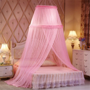 Princess Double Round Curtain Dome Bed Canopy Netting Mosquito Net-Pink
