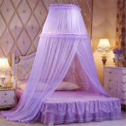 Princess Double Round Curtain Dome Bed Canopy Netting Mosquito Net-Purple