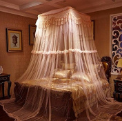 Princess Square Curtain Dome Bed Canopy Netting Mosquito Net-Lt Pink