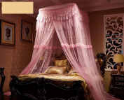 Princess Square Curtain Dome Bed Canopy Netting Mosquito Net-Pink