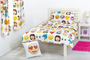 Emoji Emoticons Design Children's Cot Bed Junior Toddler Size Duvet Cover Set 120cm x 150cm with Pillowcase