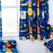 Jungle Fever Animal Design Children's Bedroom Curtains 170cm x 140cm with Tie Backs