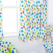 Monsters Aliens Design Children's Bedroom Curtains 170cm x 140cm with Tie Backs