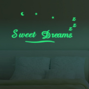 "ufengke® ""Sweet Dreams"" Wall Decals Fluorescence Stickers Glow in The Dark, Living Room Bedroom Removable Wall Stickers Murals"