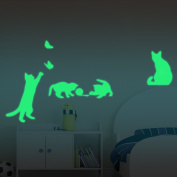 ufengke® 4-pcs Naughty Cats Butterflies Wall Decals Fluorescence Stickers Glow in The Dark, Living Room Bedroom Removable Wall Stickers Murals