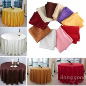 Saver 120cm Polyester Absorbent Round Tablecloth For Hotel Restaurant Wedding