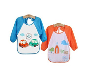WATERPROOF BIBS Baby/Child's Long Sleeve Bib / Apron / Smock (Set of 2 Blue & Orange) 1-3 yrs