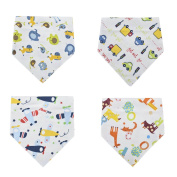 Yiyu 4 Pack Baby Bandana Triangle Bib Covered Button Backing Drool Bib with Snap-fastener Unisex Absorbent Soft Cotton Fleece for Teething Toddlers Infants Babies Boys Girls 4pcs in Patterns