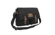 CACTUS Canvas and Distressed Oiled Leather A4 Messenger / Laptop Bag CS809_ 81 Black