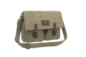 CACTUS Canvas and Distressed Oiled Leather A4 Messenger / Laptop Bag CS809_ 81 Khaki