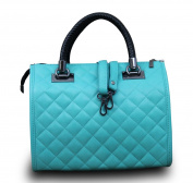 Made In Italy Hobo Ladies Bag Cube Bag Real quilted Nappa Leather Turquoise