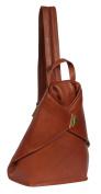 Womens BROWN leather BACKPACK rucksack hiking walking travel sports gym bag HOL259