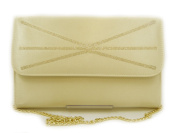 Clutch Bag iN Satin Sand, magnetic clasp, chain-B084 with Shoulder Strap