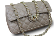 Made In Italy Luxury Ladies 'Bella Nappa Leather Quilted Chain Clutch Bag Handbag Taupe