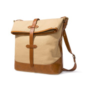 Safelake Retro Large Casual Canvas Cross-body Bag 34cm Fold-over Men Messenger Bag Khaki Shoulder Bag