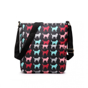 Black Medium Dog Print Matte Oil Coated Canvas Cross Body Messenger Fashion Bag Handbag