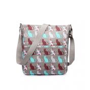 Grey Medium Cat Print Matte Oil Coated Canvas Cross Body Messenger Fashion Bag Handbag