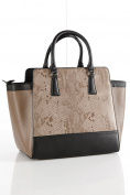 STUNNING TOP QUALITY 100% BLACK & TAUPE LEATHER BAG IDEAL FOR EVERYDAY OR WORK