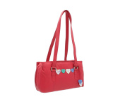 Mala Leather LUCY Collection Triple Zip Leather Shoulder Bag 734_30 Raspberry