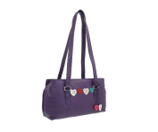 Mala Leather LUCY Collection Triple Zip Leather Shoulder Bag 734_30 Purple