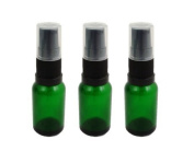 GREEN Glass Bottles 15ml with BLACK Serum Pump - PACK OF 3