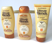 Garnier Ultimate Blends Honey Treasures Strength Restorer Shampoo, 250ml; Garnier Ultimate Blends Strength Restorer Conditioner 250 ml with new Garnier Ultimate Blends 1 Minute Intensive Treatment 200 ml Gift Pack in Gold Edged Tote
