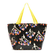 Oath_song Women's Waterproof Coated Canvas Flower Tree Print Tote Black