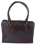 Premium Leather Zipped Top Smart Bag in Brown