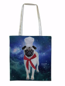 Cotton Tote Bag For Women Pug Chef In Space Sublimation Print Shopper Shoulder Canvas Bags