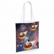 Cotton Tote Bag For Women Pug Donut Riders In Space Sublimation Print Shopper Shoulder Canvas Bags